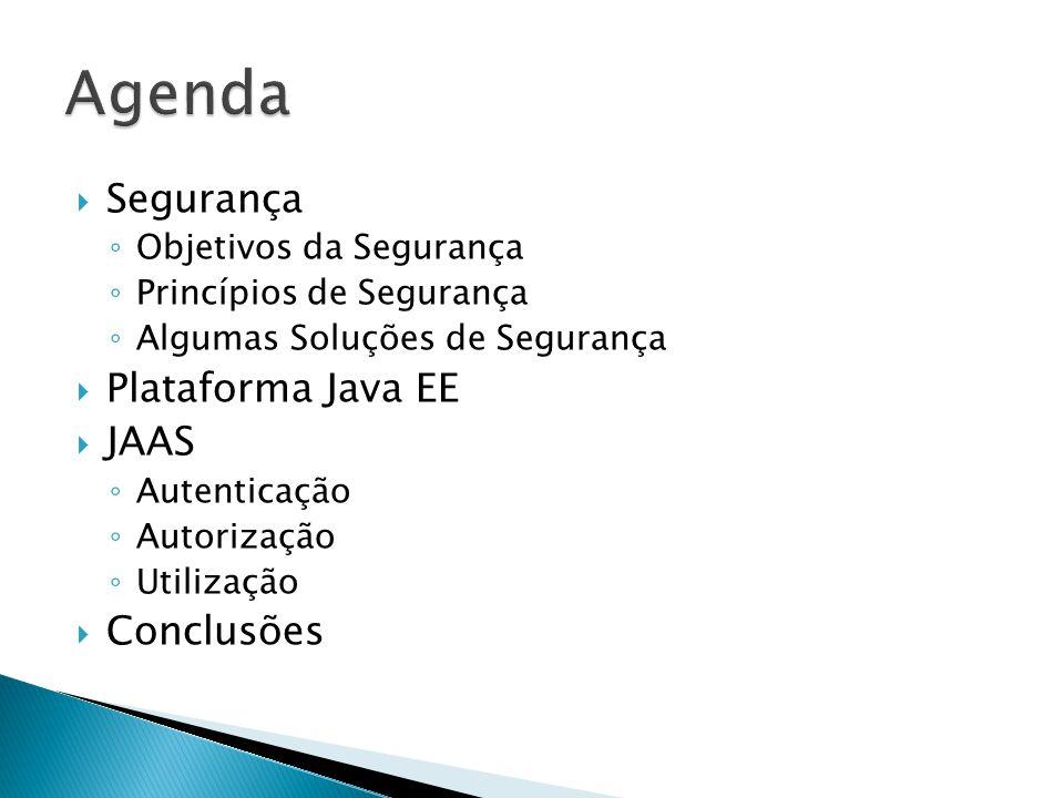 Agenda Segurança Plataforma Java EE JAAS Conclusões