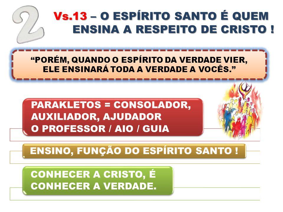 Vs.13 – O ESPÍRITO SANTO É QUEM NOS ENSINA A RESPEITO DE CRISTO !