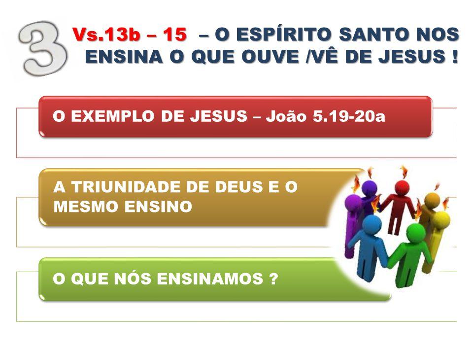 Vs.13b – 15 – O ESPÍRITO SANTO NOS ENSINA O QUE OUVE /VÊ DE JESUS !