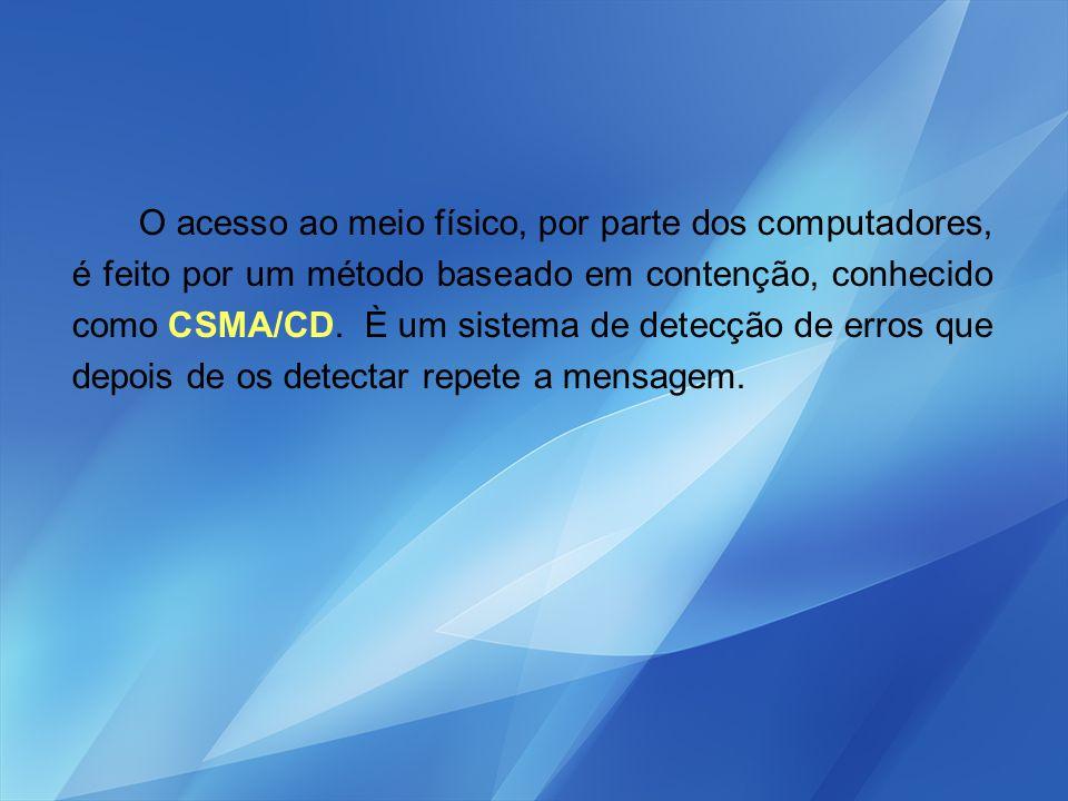 O acesso ao meio físico, por parte dos computadores, é feito por um método baseado em contenção, conhecido como CSMA/CD.
