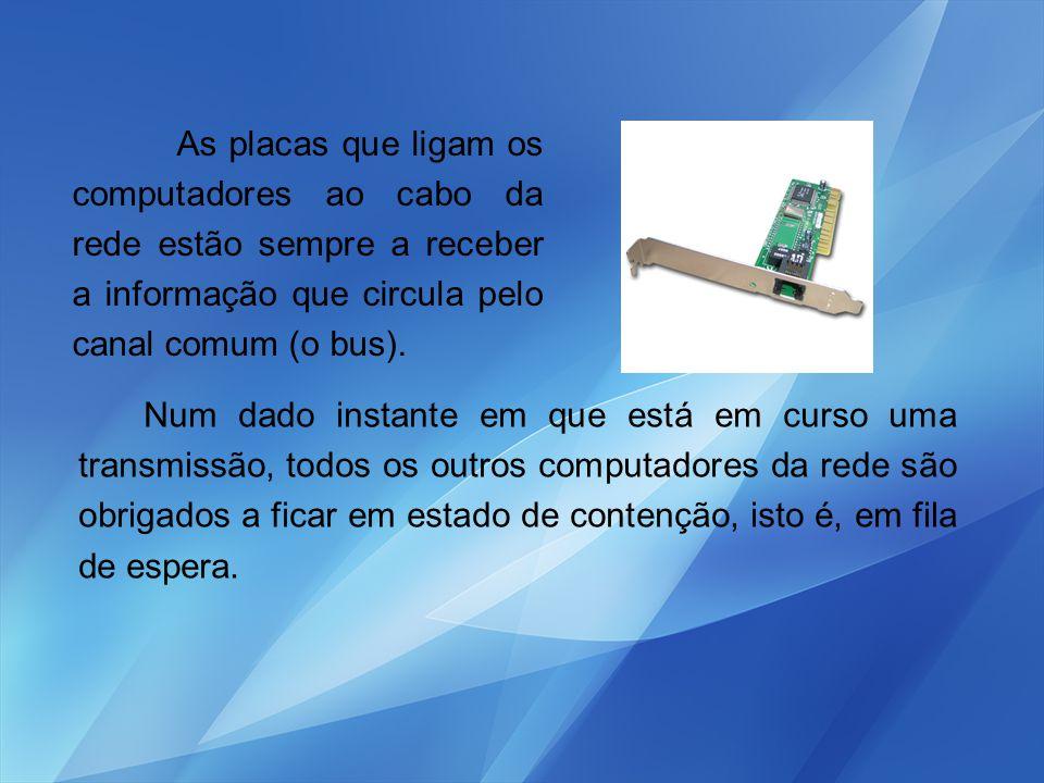 As placas que ligam os computadores ao cabo da rede estão sempre a receber a informação que circula pelo canal comum (o bus).