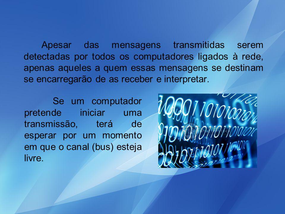 Apesar das mensagens transmitidas serem detectadas por todos os computadores ligados à rede, apenas aqueles a quem essas mensagens se destinam se encarregarão de as receber e interpretar.