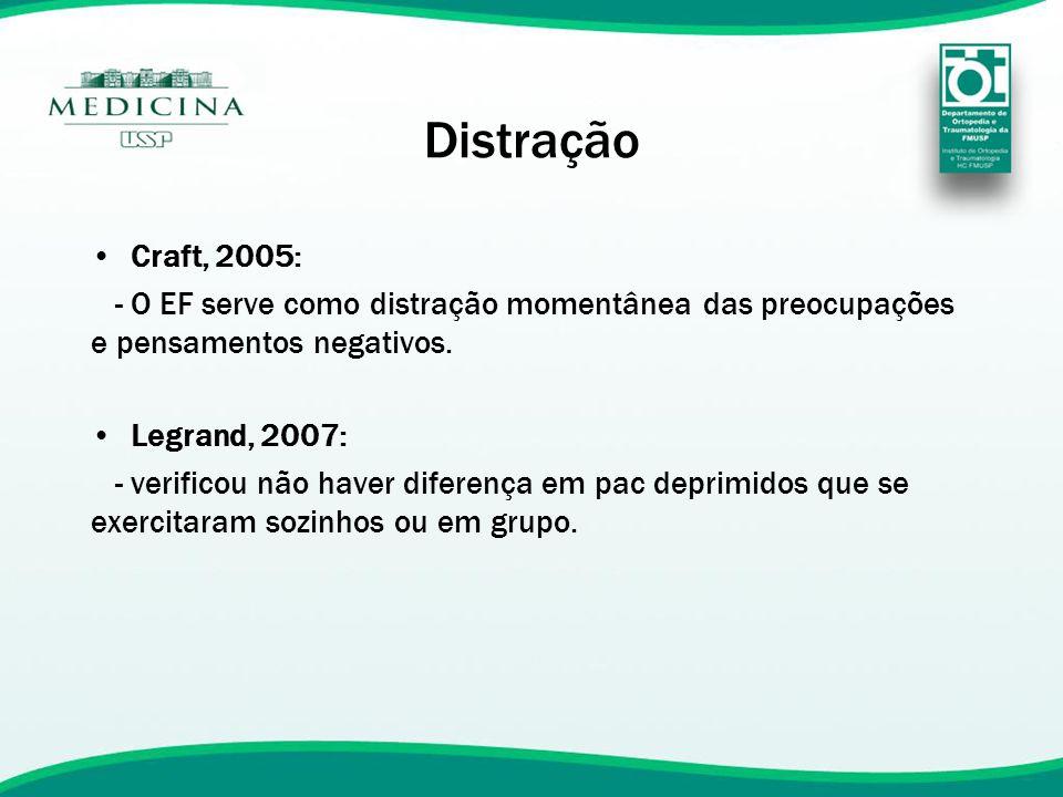 Distração Craft, 2005: - O EF serve como distração momentânea das preocupações e pensamentos negativos.