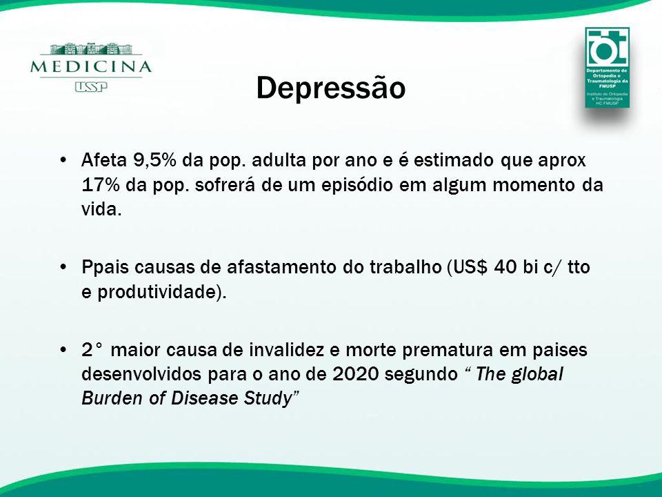 Depressão Afeta 9,5% da pop. adulta por ano e é estimado que aprox 17% da pop. sofrerá de um episódio em algum momento da vida.