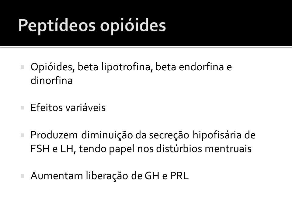 Peptídeos opióides Opióides, beta lipotrofina, beta endorfina e dinorfina. Efeitos variáveis.