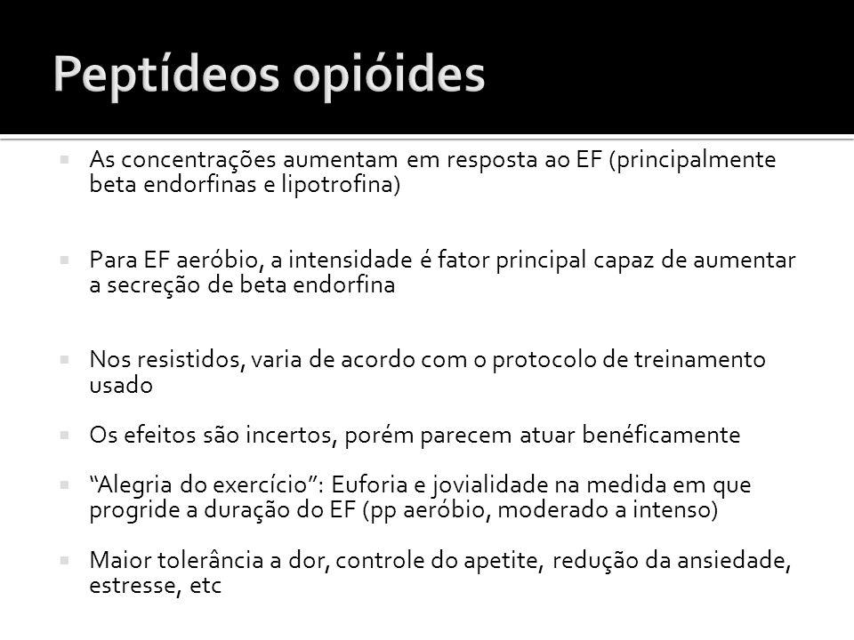 Peptídeos opióides As concentrações aumentam em resposta ao EF (principalmente beta endorfinas e lipotrofina)