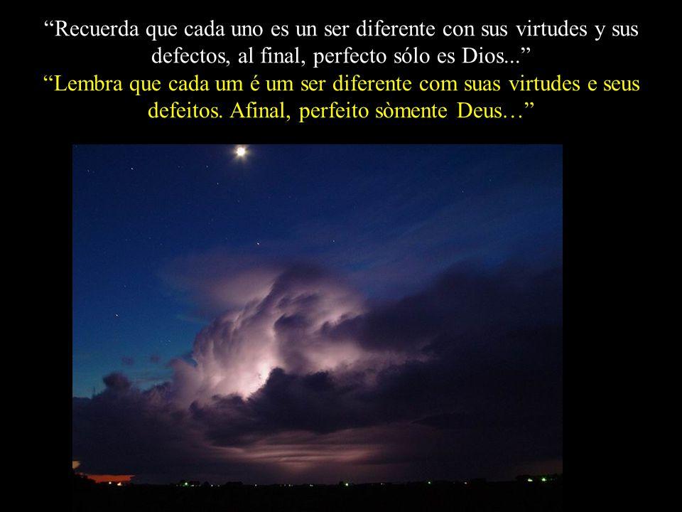 Recuerda que cada uno es un ser diferente con sus virtudes y sus defectos, al final, perfecto sólo es Dios...