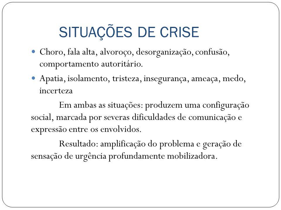 SITUAÇÕES DE CRISE Choro, fala alta, alvoroço, desorganização, confusão, comportamento autoritário.