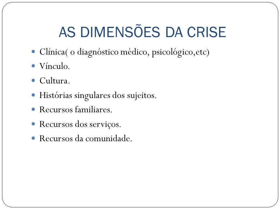 AS DIMENSÕES DA CRISE Clínica( o diagnóstico médico, psicológico,etc)