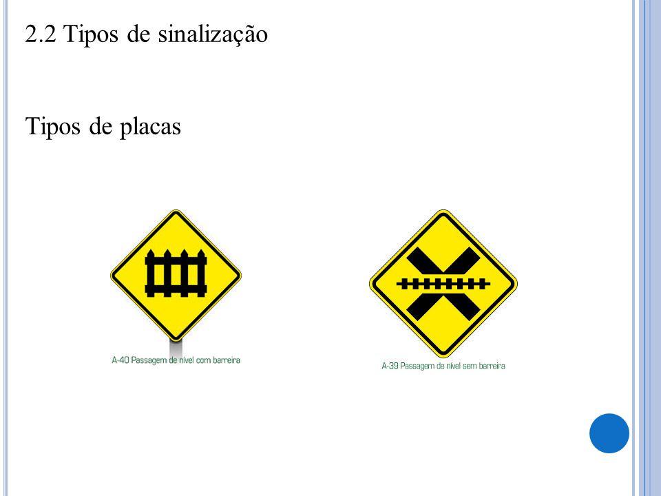 2.2 Tipos de sinalização Tipos de placas