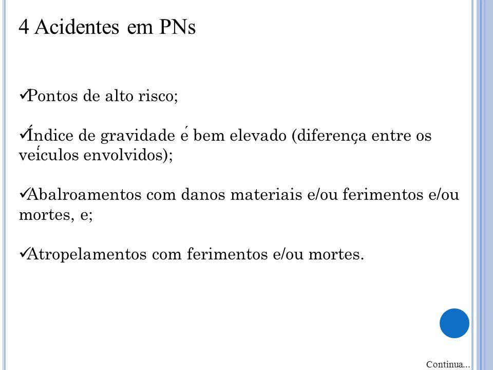 4 Acidentes em PNs Pontos de alto risco;