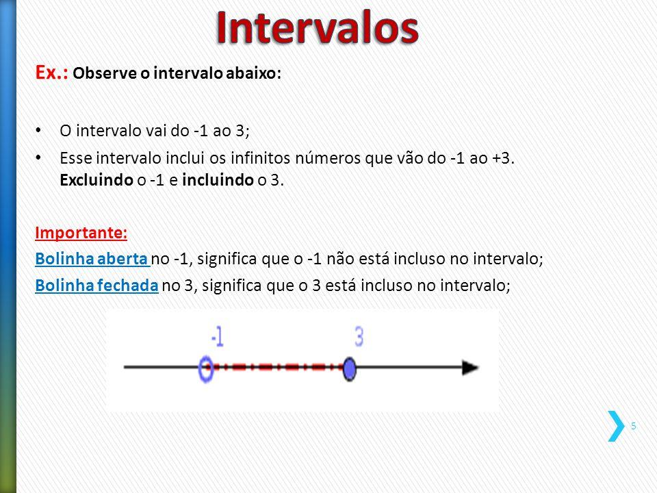 Intervalos Ex.: Observe o intervalo abaixo: