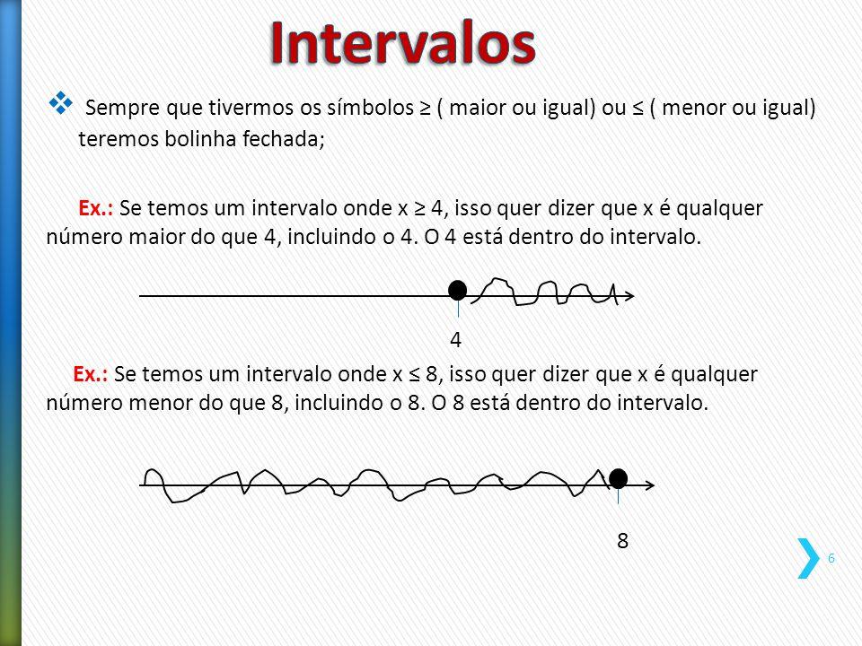 Intervalos Sempre que tivermos os símbolos ≥ ( maior ou igual) ou ≤ ( menor ou igual) teremos bolinha fechada;