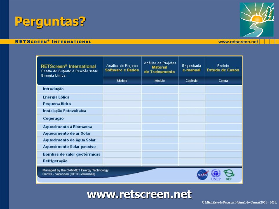 Perguntas www.retscreen.net