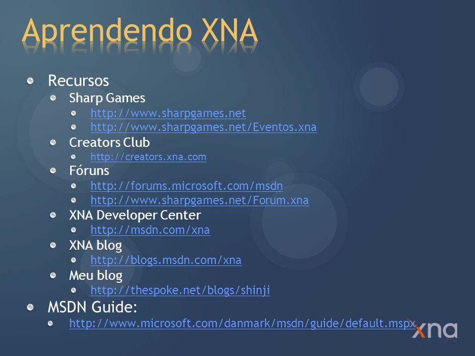 Aprendendo XNA Recursos MSDN Guide: Sharp Games Creators Club Fóruns