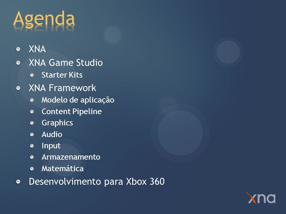 Agenda XNA XNA Game Studio XNA Framework Desenvolvimento para Xbox 360