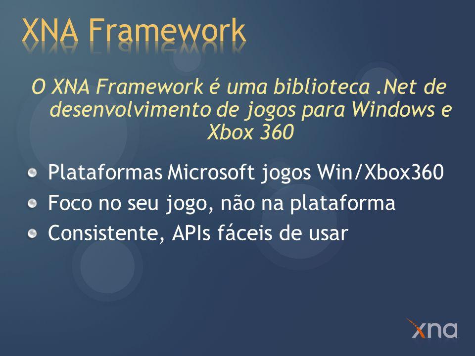 XNA Framework O XNA Framework é uma biblioteca .Net de desenvolvimento de jogos para Windows e Xbox 360.