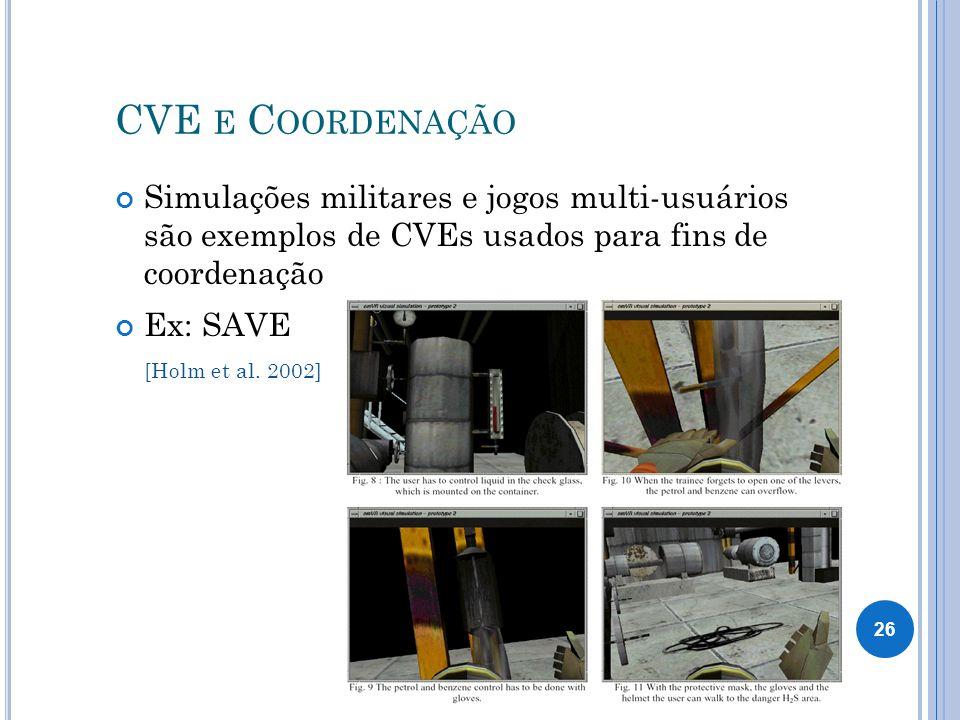 CVE e Coordenação Simulações militares e jogos multi-usuários são exemplos de CVEs usados para fins de coordenação.