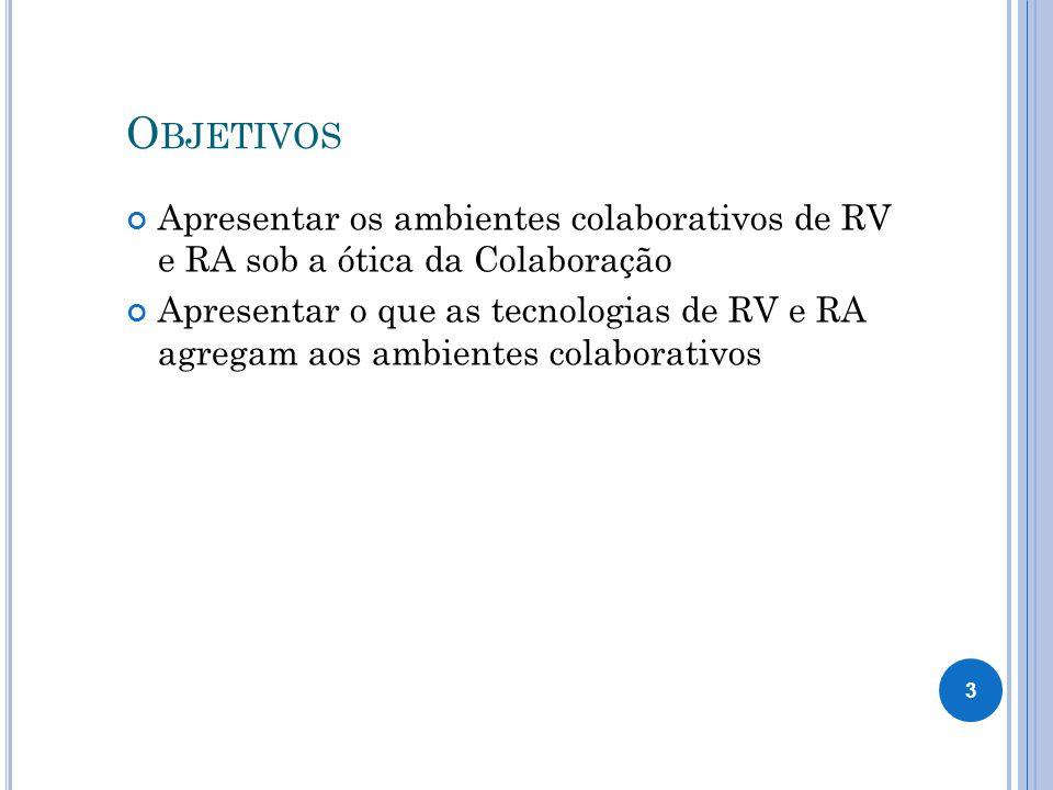 Objetivos Apresentar os ambientes colaborativos de RV e RA sob a ótica da Colaboração.