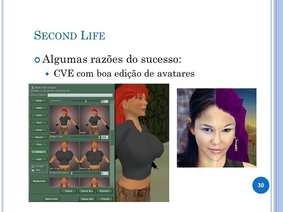 Second Life Algumas razões do sucesso: CVE com boa edição de avatares