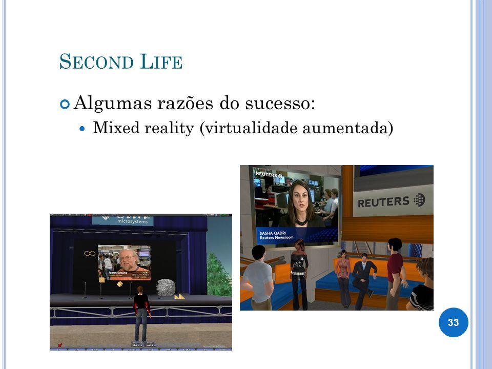 Second Life Algumas razões do sucesso:
