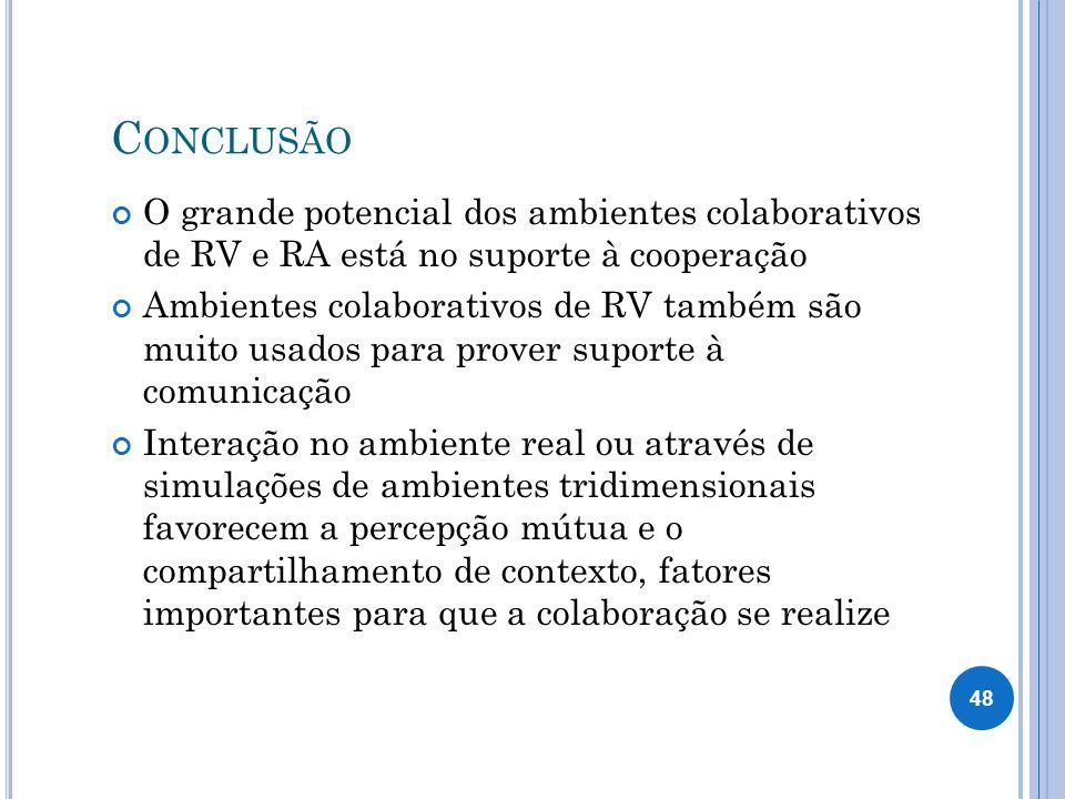 Conclusão O grande potencial dos ambientes colaborativos de RV e RA está no suporte à cooperação.