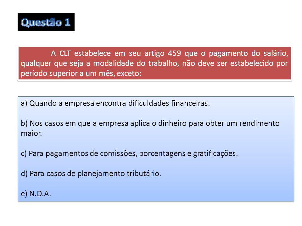 Questão 1 a) Quando a empresa encontra dificuldades financeiras.