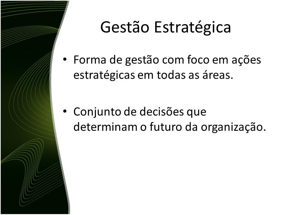 Gestão Estratégica Forma de gestão com foco em ações estratégicas em todas as áreas.