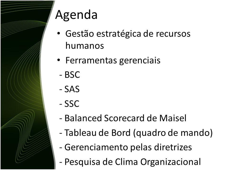 Agenda Gestão estratégica de recursos humanos Ferramentas gerenciais