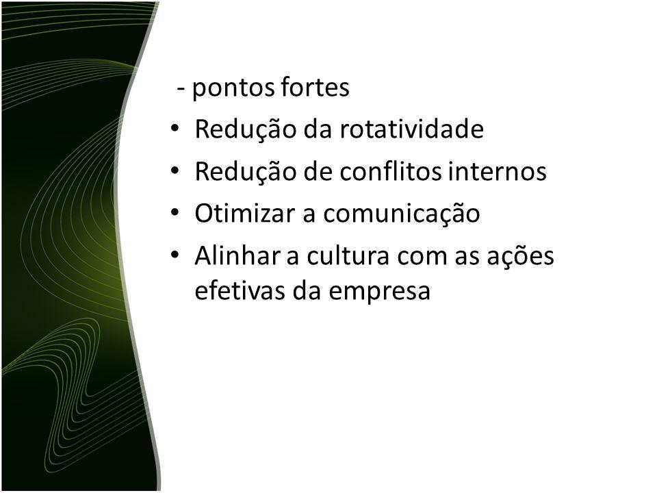 - pontos fortes Redução da rotatividade. Redução de conflitos internos.