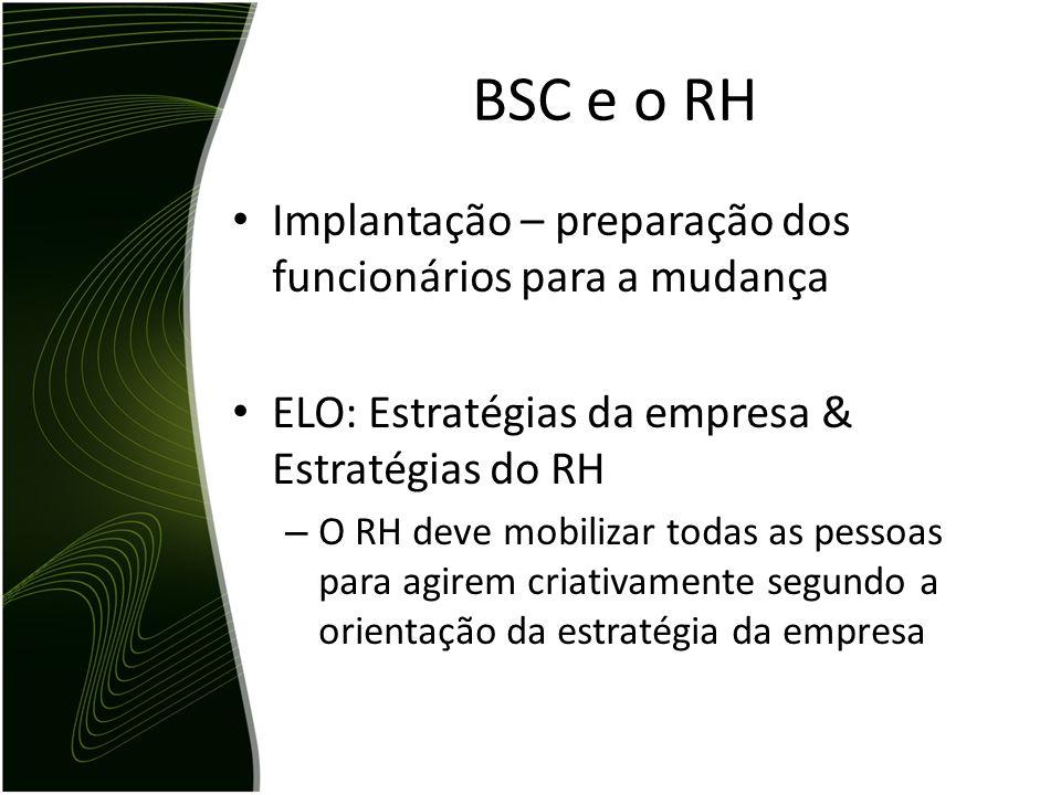 BSC e o RH Implantação – preparação dos funcionários para a mudança
