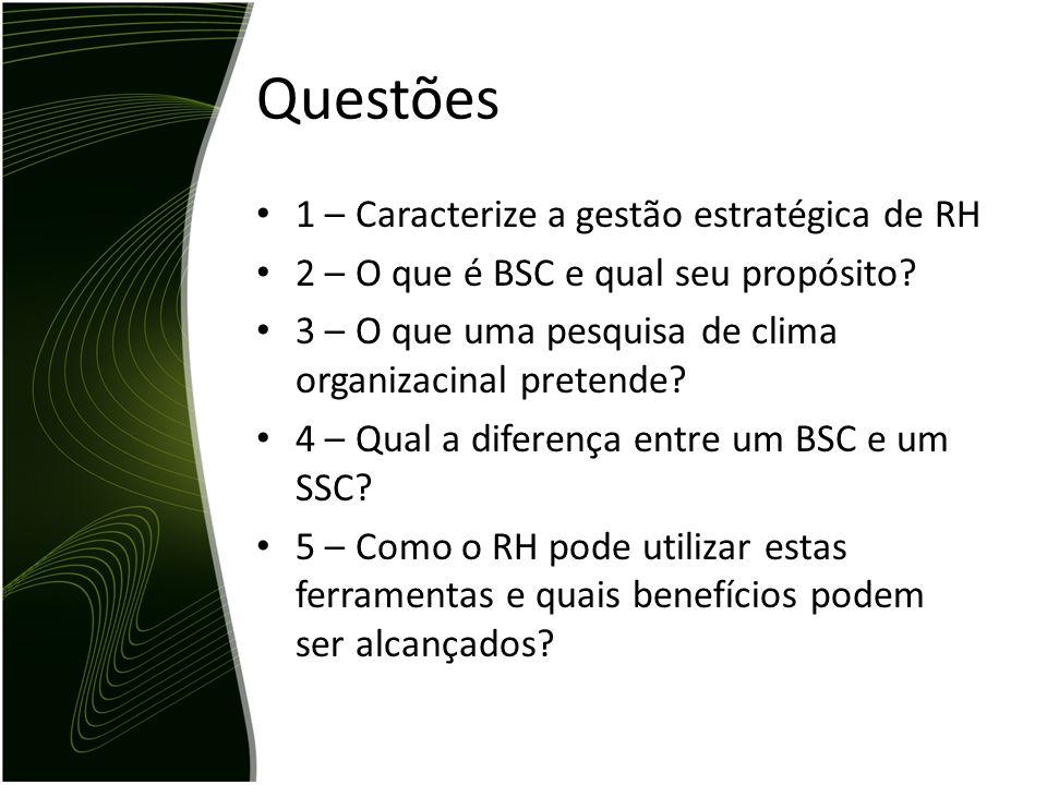 Questões 1 – Caracterize a gestão estratégica de RH