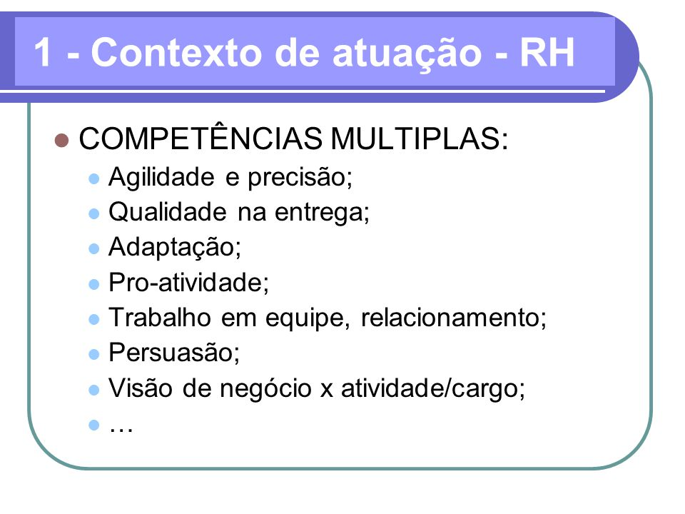 1 - Contexto de atuação - RH