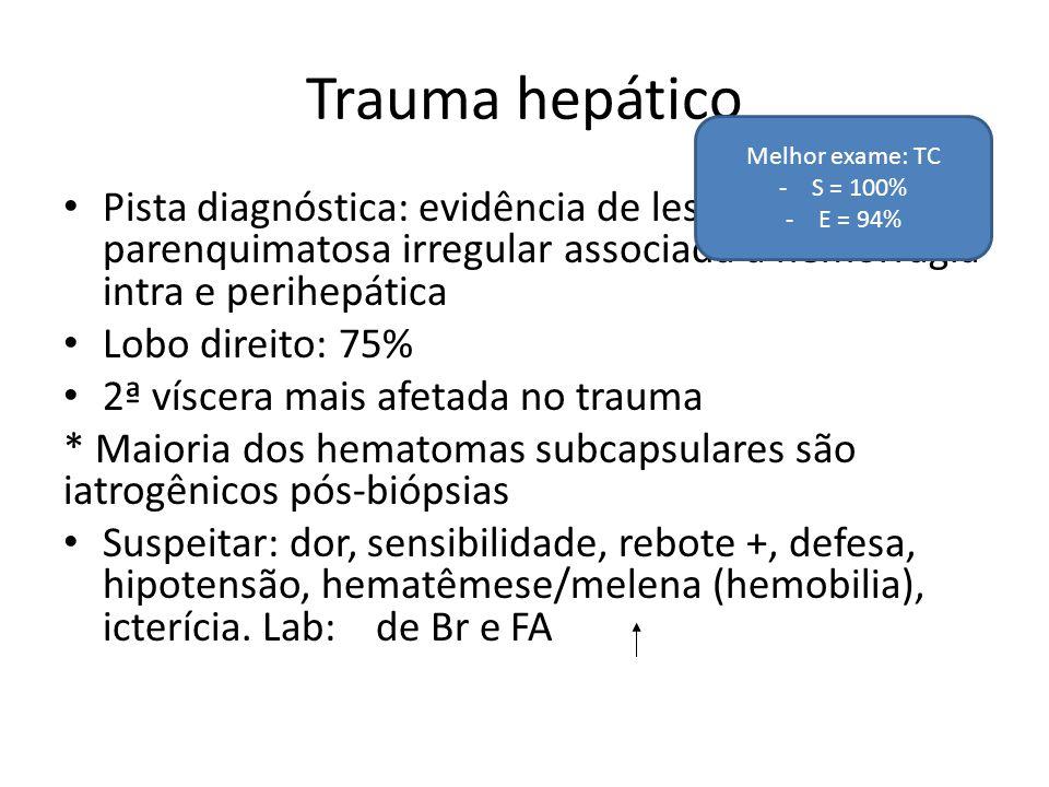 Trauma hepático Melhor exame: TC. S = 100% E = 94%