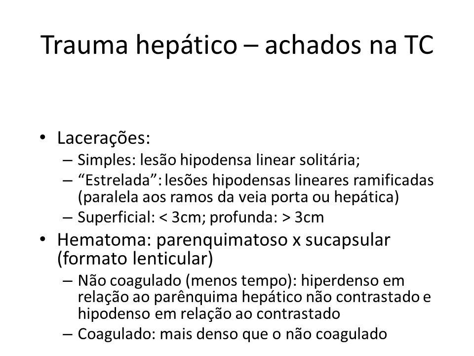 Trauma hepático – achados na TC