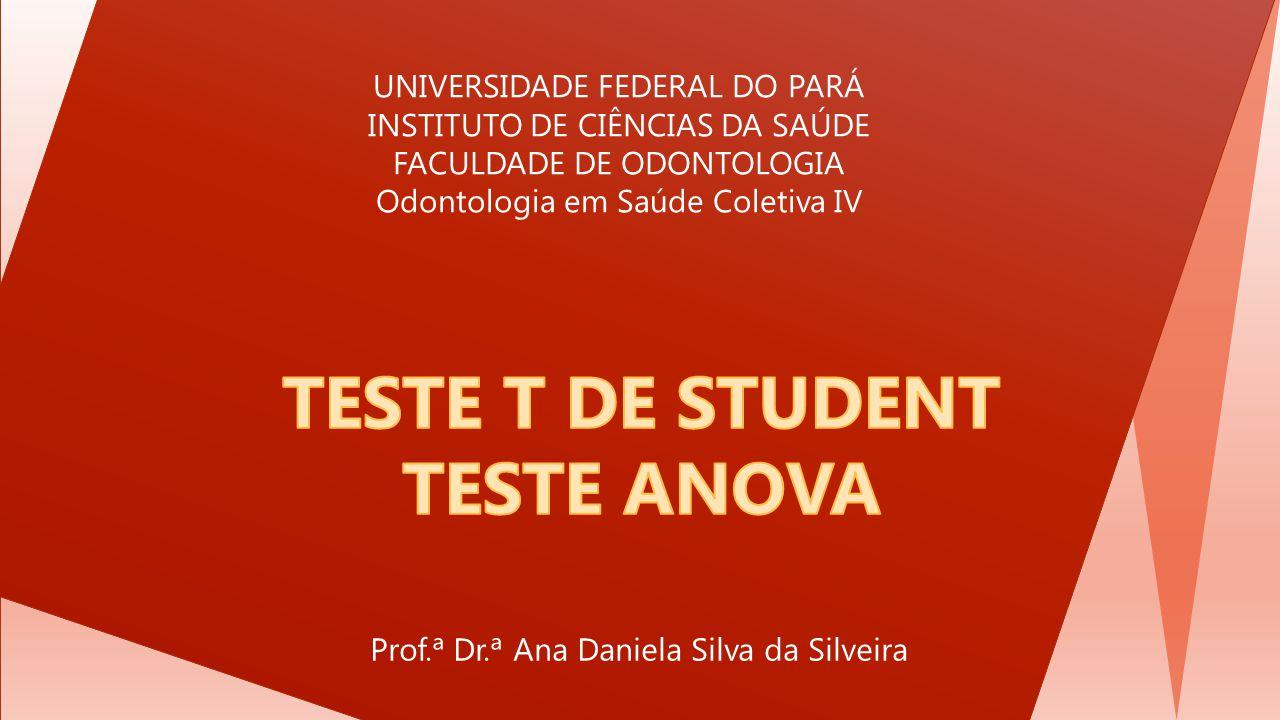 TESTE T DE STUDENT TESTE ANOVA
