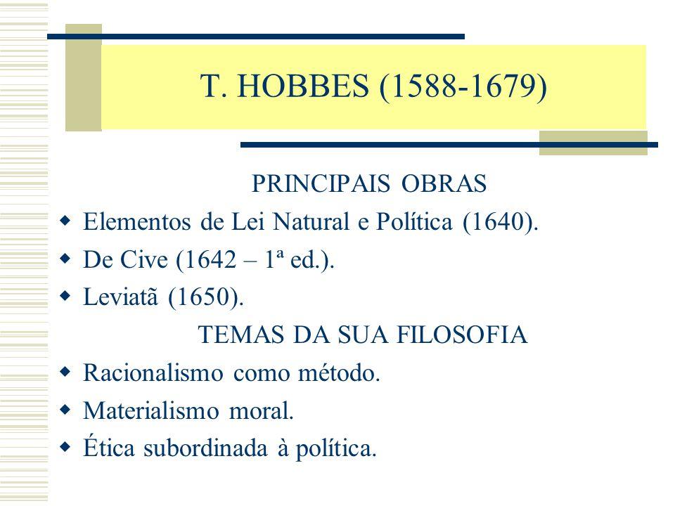 T. HOBBES (1588-1679) PRINCIPAIS OBRAS