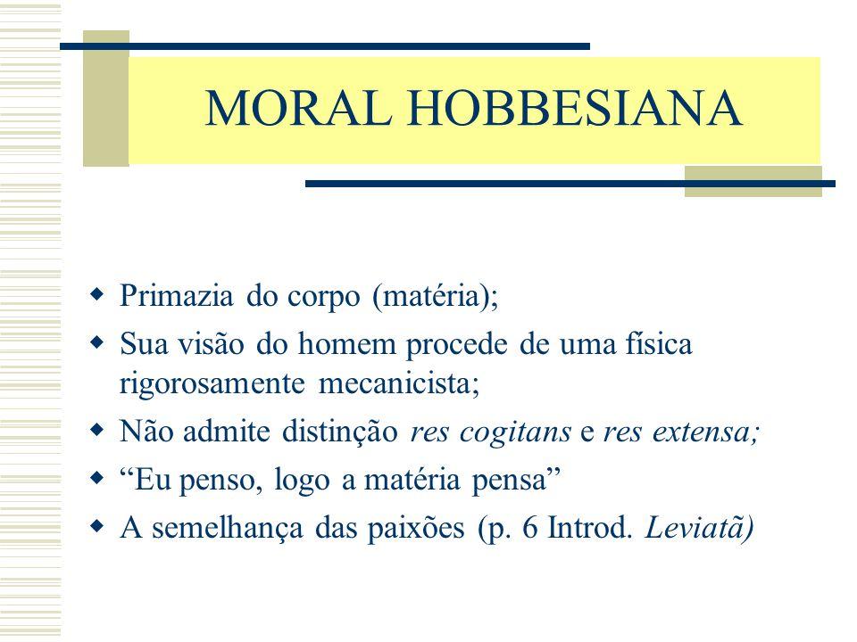 MORAL HOBBESIANA Primazia do corpo (matéria);
