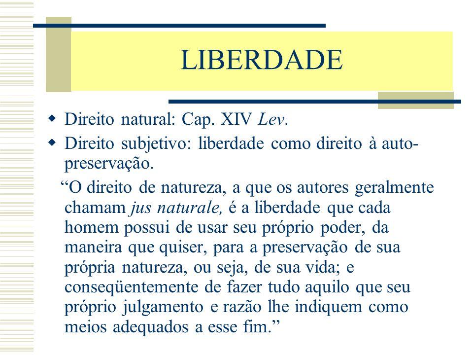 LIBERDADE Direito natural: Cap. XIV Lev.