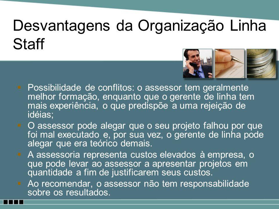 Desvantagens da Organização Linha Staff