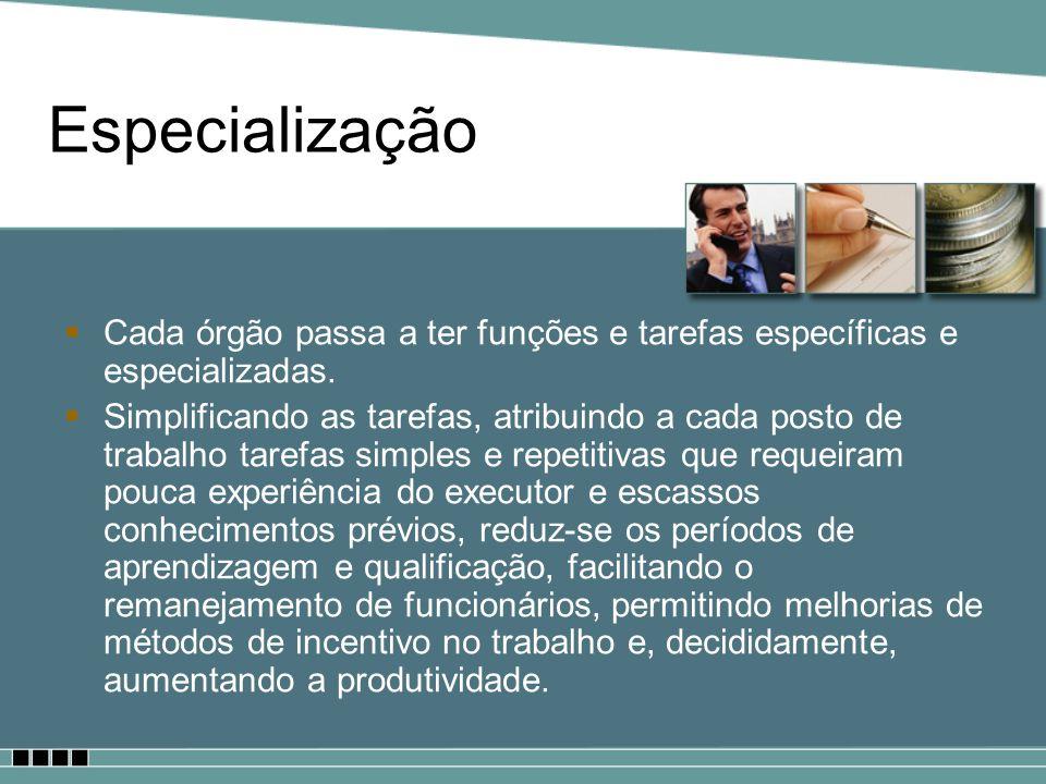 Especialização Cada órgão passa a ter funções e tarefas específicas e especializadas.