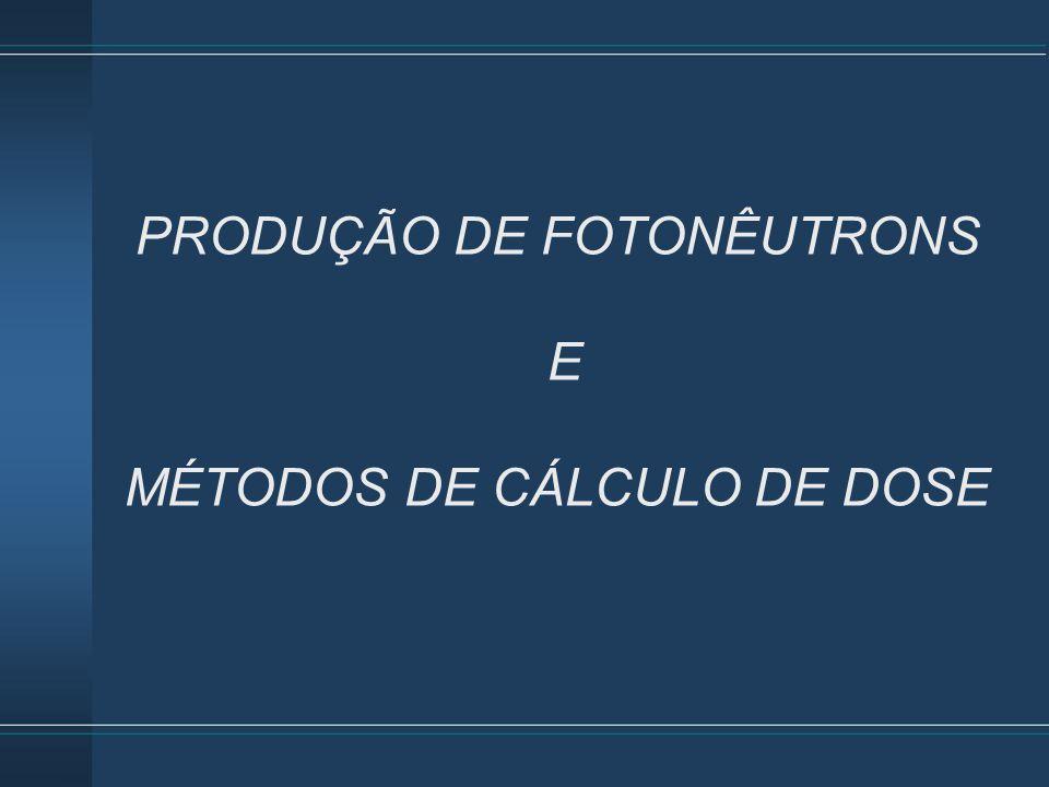 PRODUÇÃO DE FOTONÊUTRONS E MÉTODOS DE CÁLCULO DE DOSE