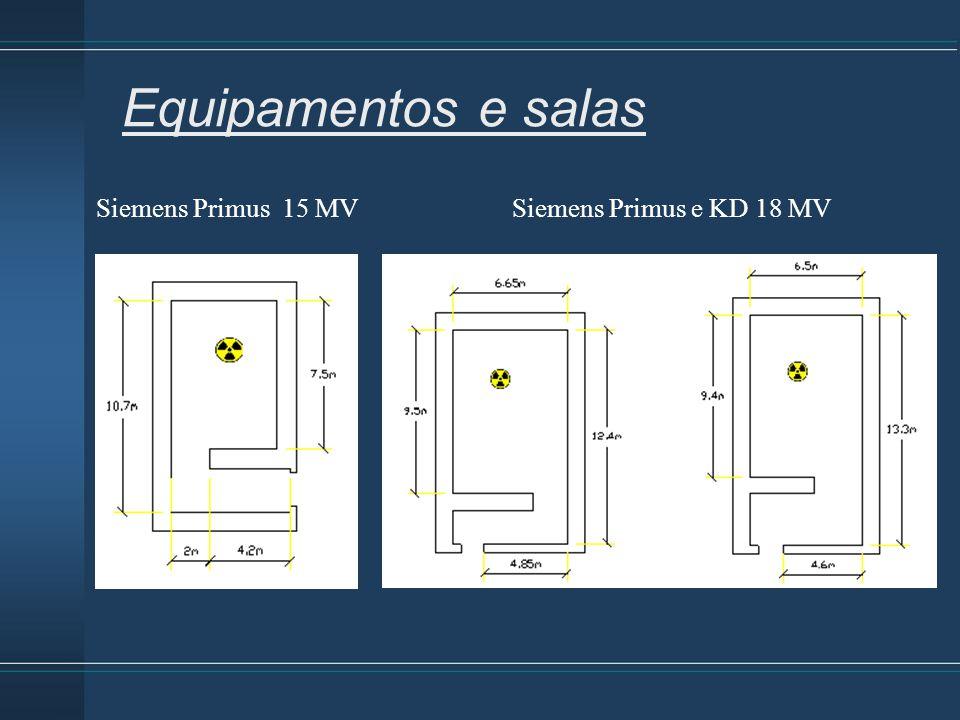Equipamentos e salas Siemens Primus 15 MV Siemens Primus e KD 18 MV