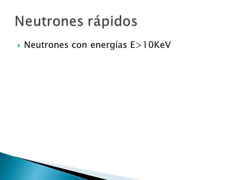 Neutrones rápidos Neutrones con energías E>10KeV