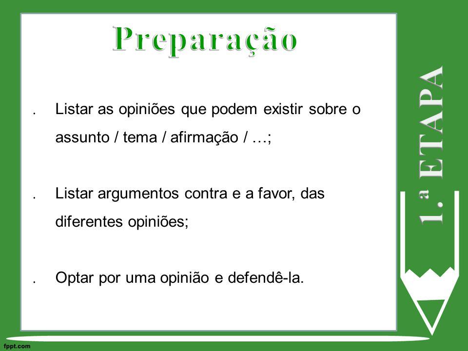 Preparação 1.ª ETAPA. Listar as opiniões que podem existir sobre o assunto / tema / afirmação / …;