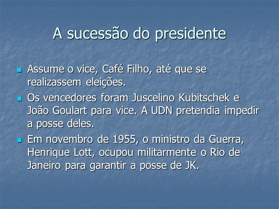 A sucessão do presidente