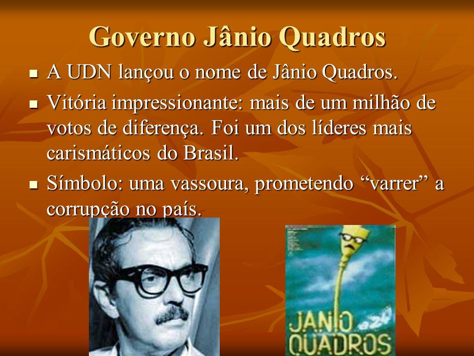 Governo Jânio Quadros A UDN lançou o nome de Jânio Quadros.
