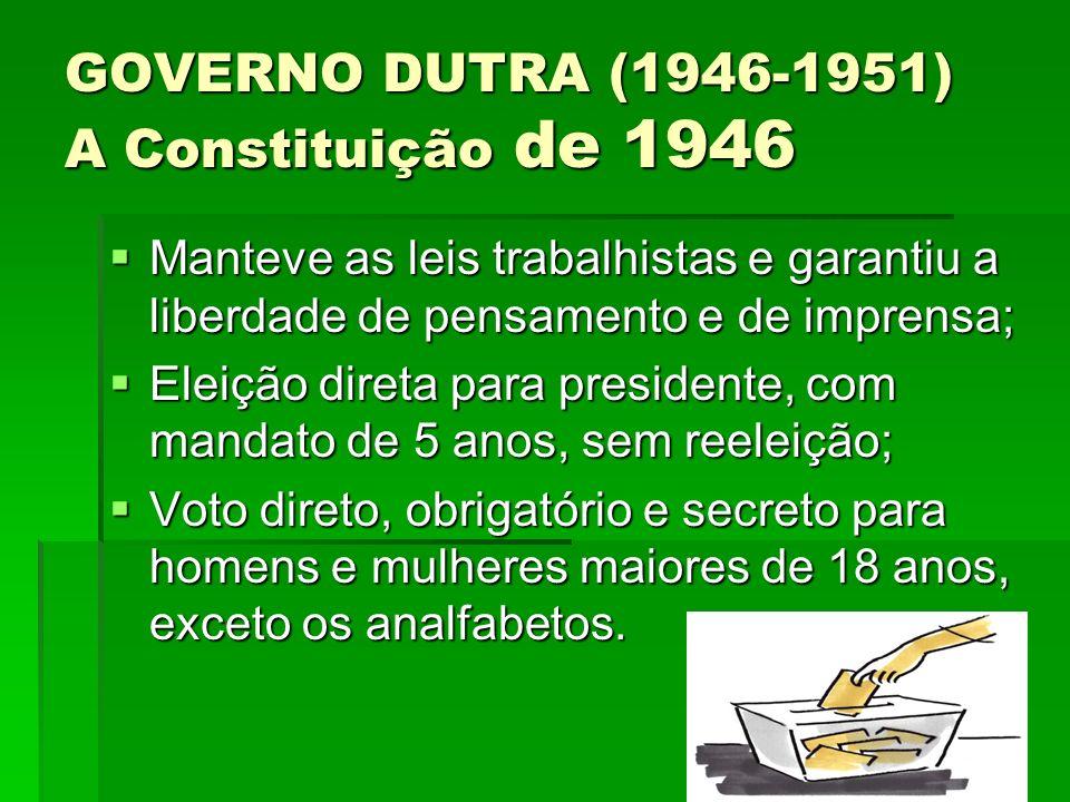 GOVERNO DUTRA (1946-1951) A Constituição de 1946