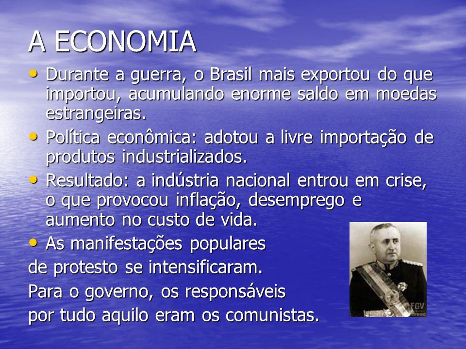 A ECONOMIA Durante a guerra, o Brasil mais exportou do que importou, acumulando enorme saldo em moedas estrangeiras.