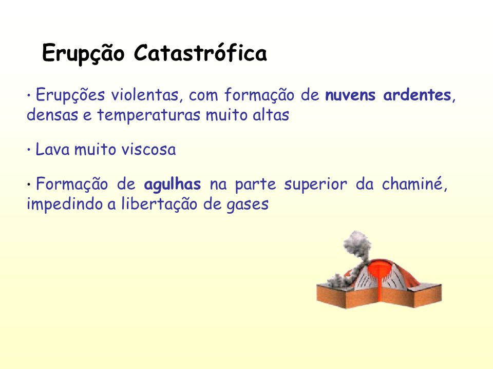 Erupção Catastrófica Erupções violentas, com formação de nuvens ardentes, densas e temperaturas muito altas.